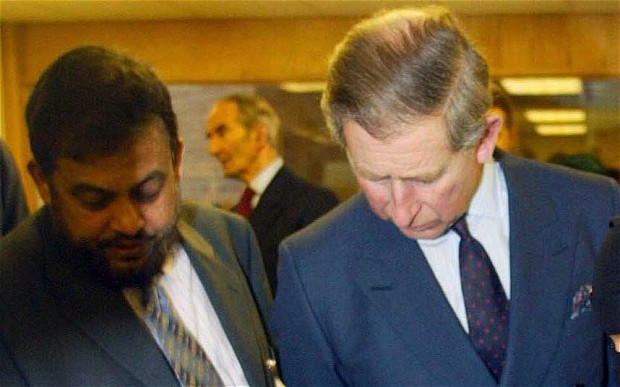 Chowdhury Mueen-Uddin, left, with the Prince of Wales at the Markfield Islamic Foundation, Leics on January 24, 2003.