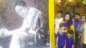 Actor Meher Afroz Shaon, with her sons Nishad and Ninit, unveils a mural of her late husband and prominent writer Humayun Ahmed on the occasion of his birthday yesterday at Nuhash Palli, Gazipur .